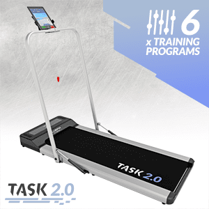 , Bluefin Fitness TASK 2.0 2-in-1 Folding Under Desk Treadmill | Home Gym Office Walking Pad | 8 Km/h | Joint Protection Tech | Smartphone App | Bluetooth Speaker | Compact Walking / Running Machine