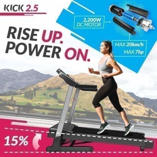 High-Speed Folding Treadmill, Bluefin Fitness KICK High-Speed Folding Treadmill | 20 Km/h + 7 HP + 15% Incline | Digital Fitness Console | App + Bluetooth Speakers + Heart Rate Sensors