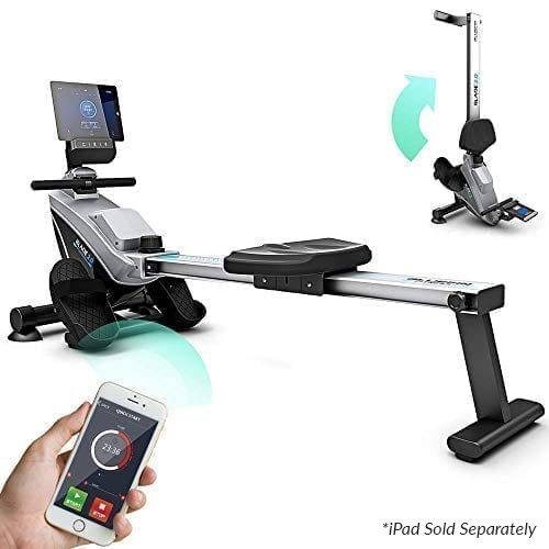 Bluefin Fitness BLADE Home Gym Foldable Rowing Machine | Magnetic Resistance Rower | 8 x Tension Levels | Smooth Belt Drive | LCD Digital Fitness Console | Smartphone App | Black & Grey Silver