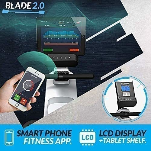 , Bluefin Fitness BLADE Home Gym Foldable Rowing Machine | Magnetic Resistance Rower | 8 x Tension Levels | Smooth Belt Drive | LCD Digital Fitness Console | Smartphone App | Black & Grey Silver