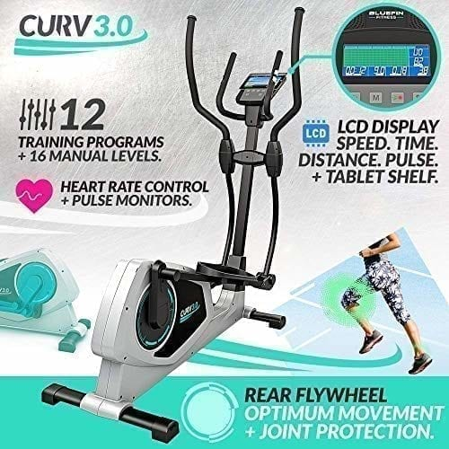 , Bicicleta Eliptica Bluefin Fitness CURV 3.0 Elliptical Cross Trainer /  Air Walker / Zancada larga / Consola de Fitness Digital LCD / Bluetooth / Aplicación para Smartphone / Negro y Plata.