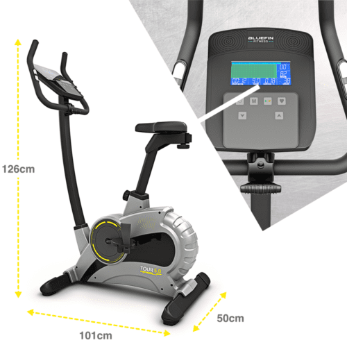 , Bluefin Fitness TOUR 5.0 Exercise Bike | Home Gym Equipment | Exercise Machine | Magnetic Resistance | LCD Digital Fitness Console | Bluetooth | Smartphone App | Black & Grey Silver