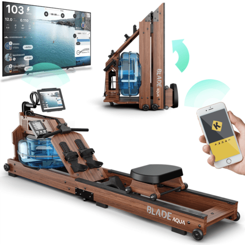 , Bluefin Fitness Blade Aqua W-1 | Water Resistance Powered Rowing Machine | 100% Sustainable American Ashwood | Foldable Home Gym Equipment | LCD Console + Heart Rate Monitor | Kinomap App Integration