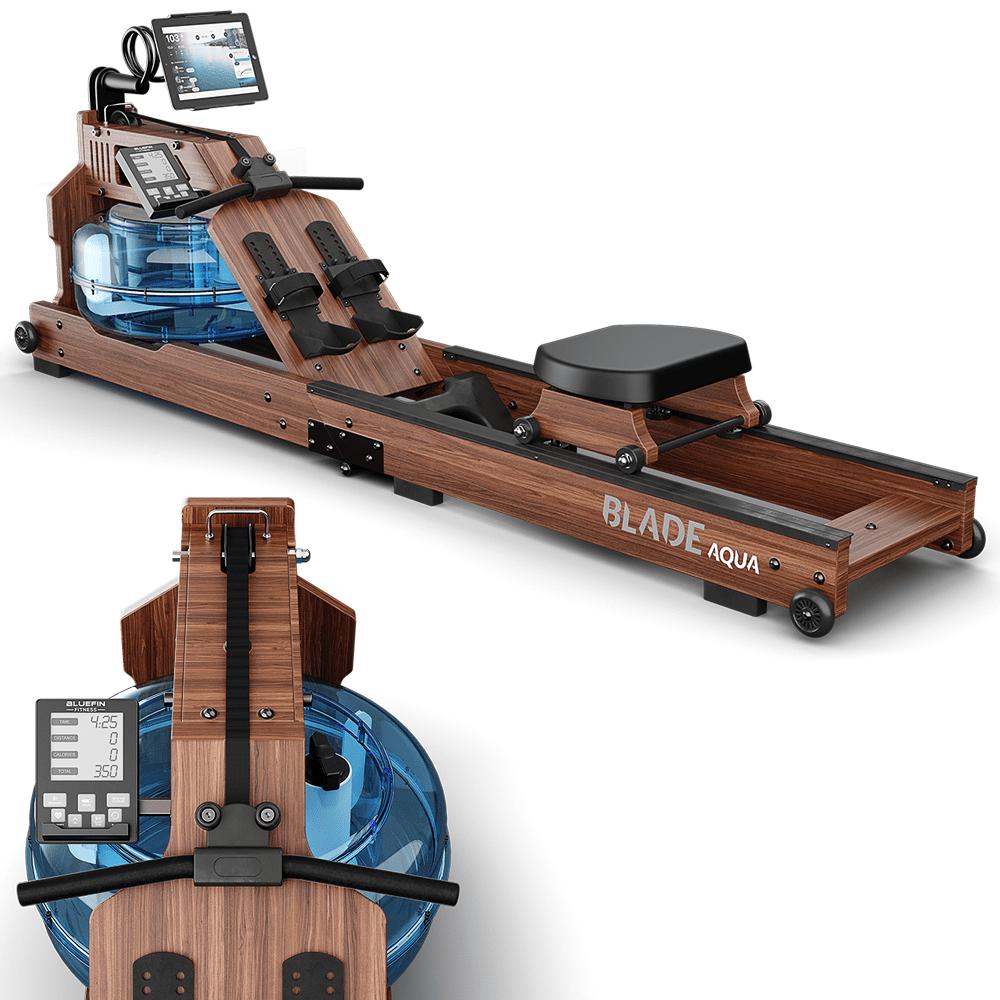, Bluefin Fitness Blade Aqua W-1 | Rameur à eau électrique | 100% bois de frêne | Rameur pliable pour usage à domicile | Ecran LCD + moniteur de rythme cardiaque | Intégration de l'application Kinomap