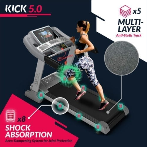 , Bluefin Fitness Kick 5.0. Folding Treadmill | 24 km/h + 5.0 HP + 20 Incline Levels | Home Gym Equipment | 10.1' TFT Screen |  Heartrate sensors + Built-in Shock Absorption | App Integration