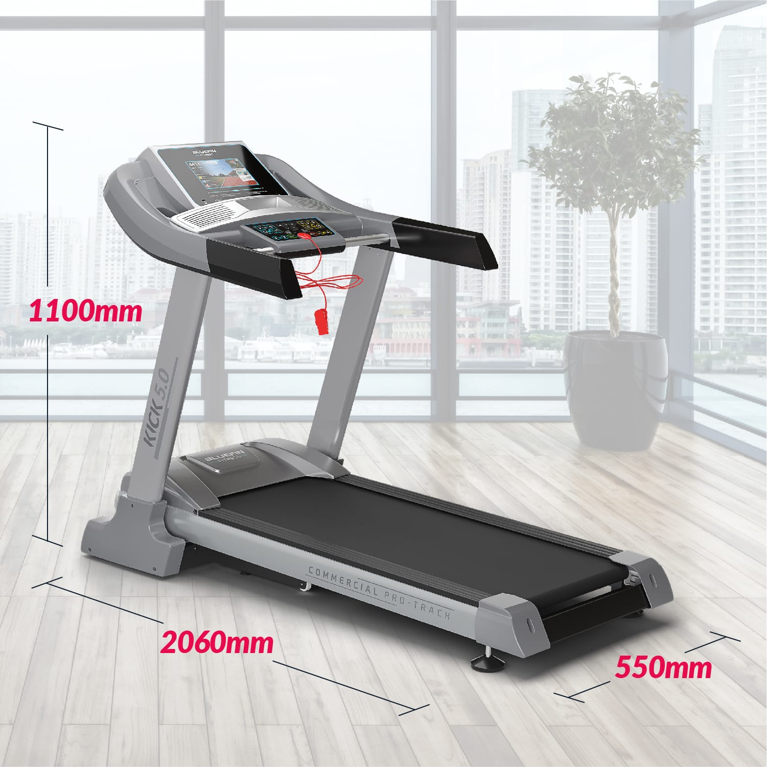 , Bluefin Fitness Kick 5.0. Folding Treadmill | 24 km/h + 5.0 HP + 20 Incline Levels | Home Gym Equipment | High Speed |10.1' TFT Screen | Heartrate sensors + Built-in Shock Absorption | Bluetooth